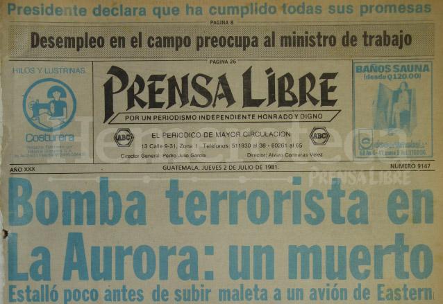 1981: bomba en aeropuerto La Aurora causa terror