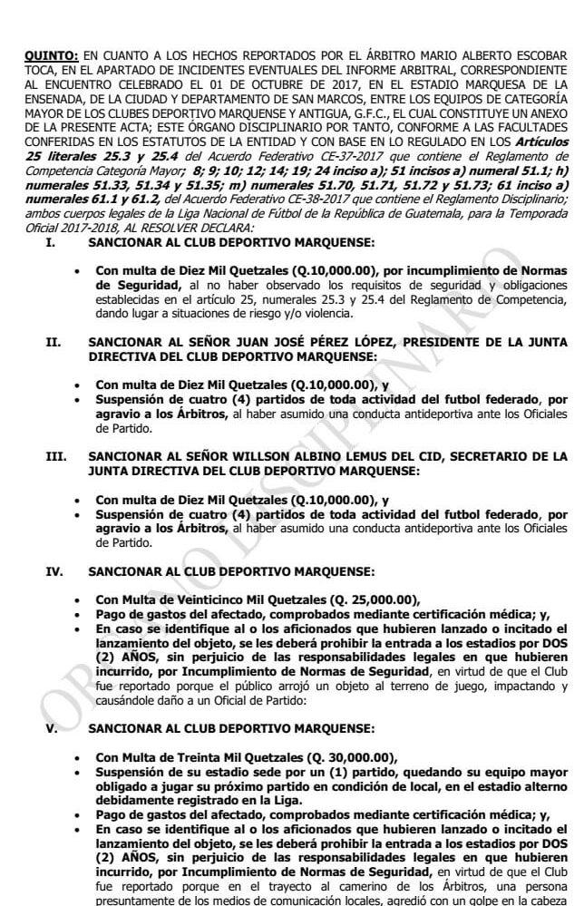 Cinco puntos incluye la resolución del Órgano Disciplinario de la Liga Nacional. (Foto Prensa Libre: Fedefut)