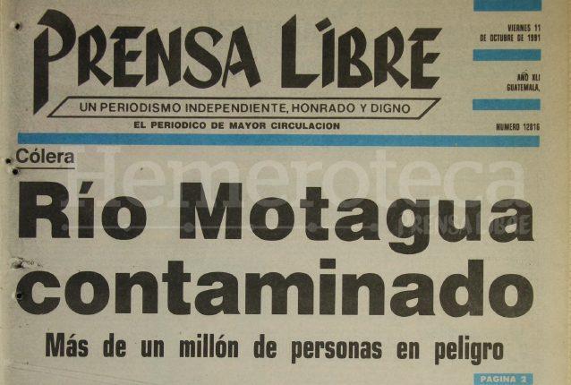 Titular de Prensa Libre del 11 de octubre de 1991. (Foto: Hemeroteca PL)