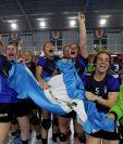 El equipo femenino de Balonmano se coronó campeón de las justas centroamericanas. (Foto Prensa Libre: Carlos Vicente)