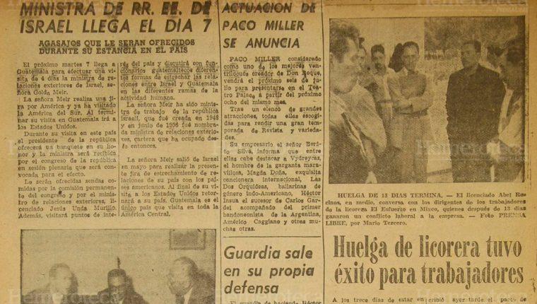 Página interior en la cual Prensa Libre destacó la visita de la Ministra de Relaciones Exteriores de Israel, el 30/6/1959. (Foto: Hemeroteca PL)