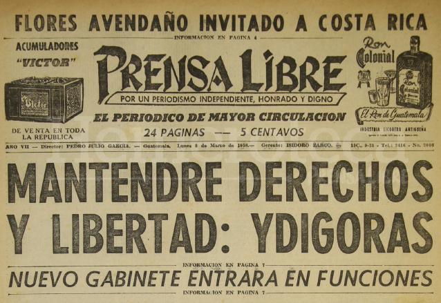 Ydígoras toma posesión de la Presidencia en 1958