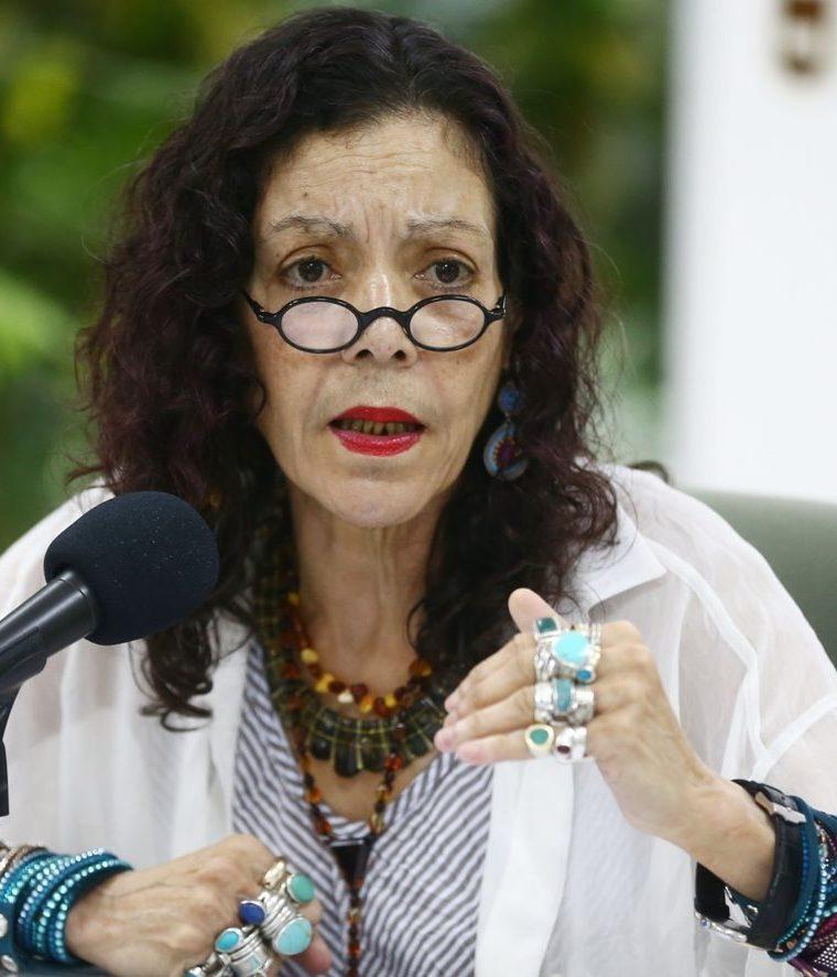 Rosario Murillo, vicepresidenta de Nicaragua durante una conferencia de prensa en Managua, Nicaragua. (Foto HemerotecaPL).