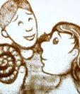 El padre de Mary Anning era un apasionado de los fósiles y compartía su pasión con ella. (Todas las imágenes fueron hechas por Anna Humphries con la arena de la playa de Lyme Regis, donde Mary Anning vivió y trabajó)