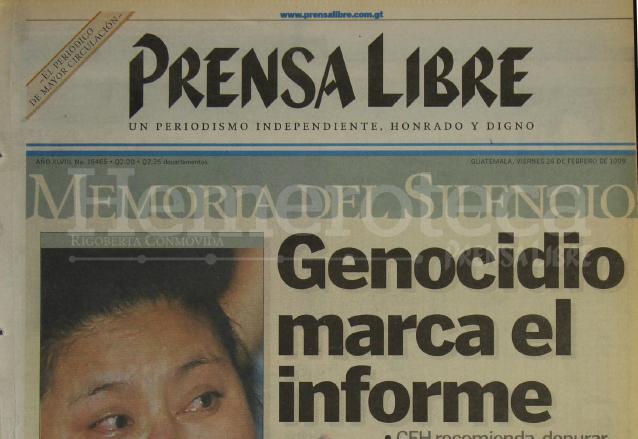 Titular de Prensa Libre del 26 de febrero de 1999. (Foto: Hemeroteca PL)