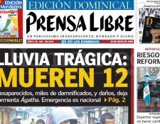 Titular de Prensa Libre del 30 de mayo de 2010 informando sobre los daños provocados por la tormenta Ágatha. (Foto: Hemeroteca PL)