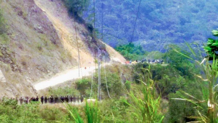Lugar donde ocurrió el enfrentamiento entre pobladores y agentes de la PNC, en Chajul. (Foto Prensa Libre: Óscar Figueroa)