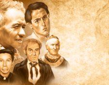 Arriba, de izquierda a derecha, Florentino Ajcapajá y Roberto Ossaye; abajo, Hermógenes López, Francisco Cabrera y Francisco de Paula García Peláez.Ilustración Esteban Arreola