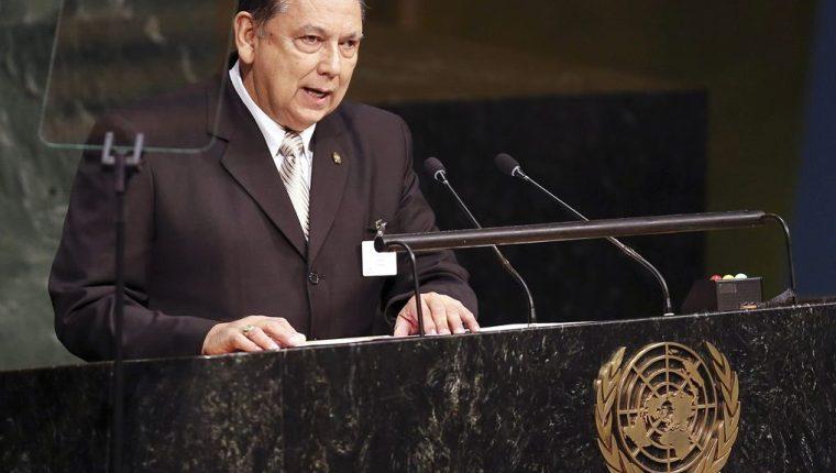 El vicepresidente Juan Fuentes Soria, durante su discurso ante la ONU. (Foto Prensa Libre: EFE)