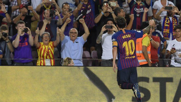 Lionel Messi anotó el gol número 6 mil en la historia del Barcelona. (Foto Prensa Libre: AFP)
