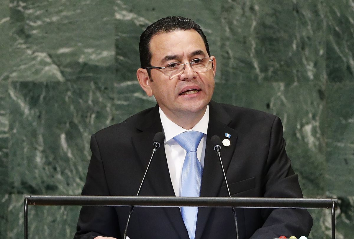 Jimmy Morales se dirige a la 73 asamblea de Naciones Unidas. (Foto Prensa Libre: EFE)
