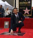 El actor Ryan Reynolds desveló su estrella en el Paseo de la Fama. (Foto Prensa Libre: AFP)