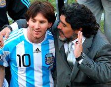 Lionel Messi y Diego Armando Maradona no han tenido una relación estable de amistad, según medios internacionales. (Foto Prensa Libre: Hemeroteca PL)