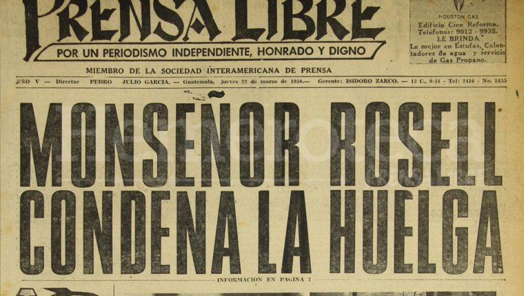 Titular de Prensa Libre del 26 de marzo de 1956. (Foto: Hemeroteca PL)