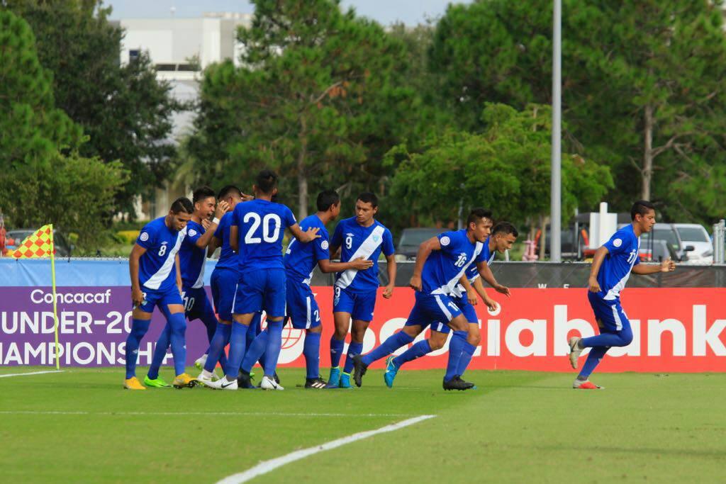 Así festejaron los jugadores de la Selección de Guatemala. (Foto Prensa Libre: Fedefut)