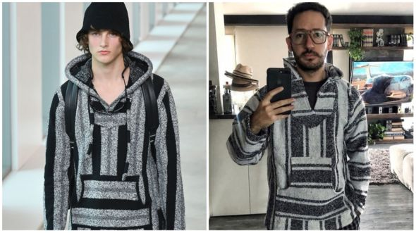 "Un poncho de la colección primavera 2019 de Michael Kors (izq) tiene similitudes con una prenda mexicana artesanal llamada ""jerga"". AFP/SANTIAGOGMP"