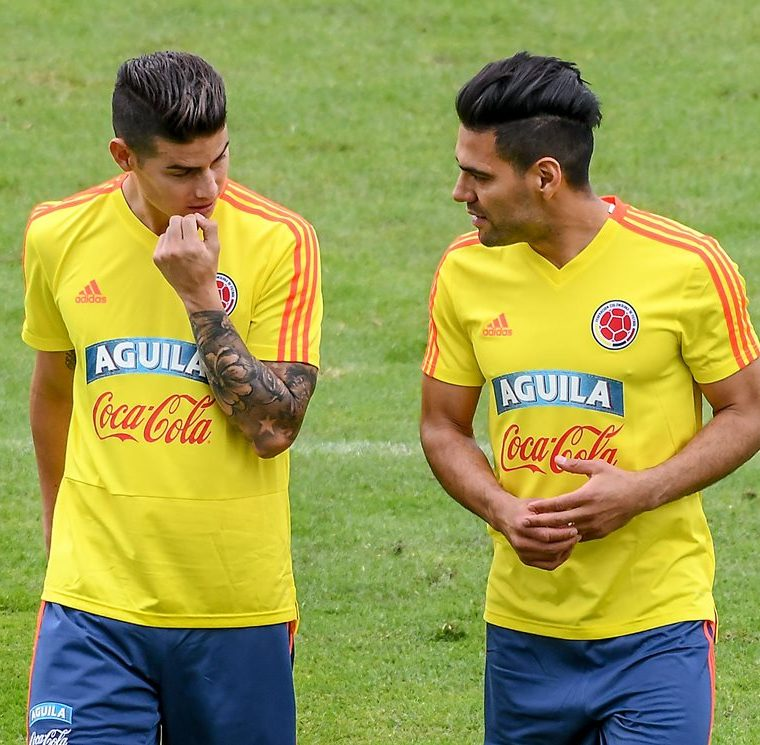 Rodriguez y Falcao se incorporaron al plantel colombiano. (Foto Prensa Libre: AFP)
