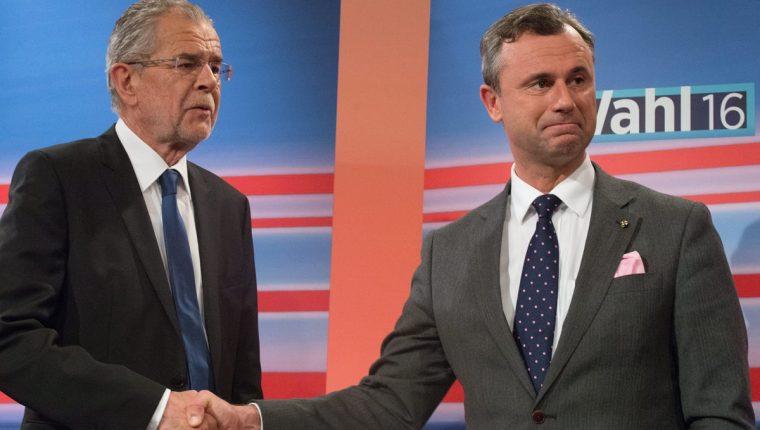 Norbert Hofer (derecha) y Alexander Van der Bellen empatan en elecciones presidenciales de Austria. (Foto Prensa Libre: EFE)
