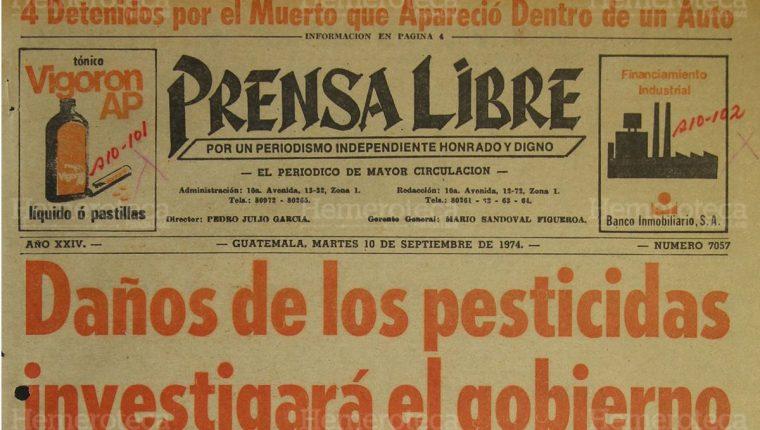 Portada de Prensa Libre con fecha 10 de septiembre de 1974 sobre investigación por daños de los pesticidas. (Foto: Hemeroteca PL)
