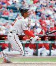 Michael Taylor de los Nacionales de Washington batea un grand-slam home-run. (Foto Prensa Libre: AFP).
