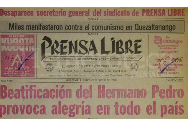 Titular de Prensa Libre del 23 de junio de 1980. (Foto: Hemeroteca PL)