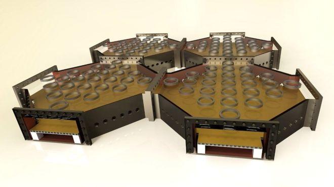 El plano de una computadora cuántica basado en un proyecto modular de gran escala. (ION QUANTUM TECH GROUP, UNI SUSSEX)