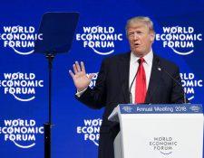 Trump recibió pocos aplausos en Davos, donde también fue abucheado y recibió risas burlonas. (Foto Prensa Libre: AFP)