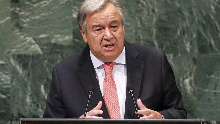 Antonio Guterres, secretario de ONU, da un discurso en la apertura del periodo de sesiones de la Asamblea del organismo. (Foto Prensa Libre: EFE)
