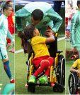 Este fue el momento tierno entre Cristiano y Polina, en la Copa Confederaciones. (Fotos Prensa Libre: EFE Y AFP)