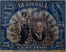 Sello de 1917 donde aparece retratado el presidente Manuel Estrada Cabrera. (Foto: Hemeroteca PL)