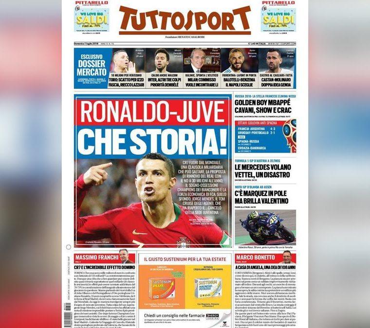 Tuttosport abrió este domingo con la noticia del deseo de la Juventus de Turín por fichar a Cristiano Ronaldo. (Foto Prensa Libre: tomada de Tuttosport)