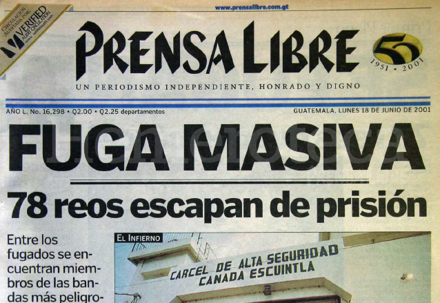 2001: fuga masiva de 78 reos en cárcel de máxima seguridad