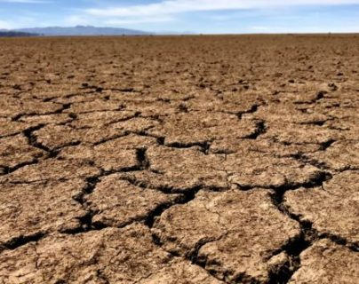 El lecho del lago boliviano Poopó, durante la estación seca, se convierte en una planicie arcillosa (foto: Angelo Attanasio).