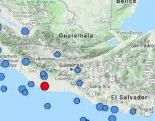 El punto rojo muestra el lugar del epicentro del temblor registrado a las 19.21 horas. (Foto Prensa Libre: Insivumeh).
