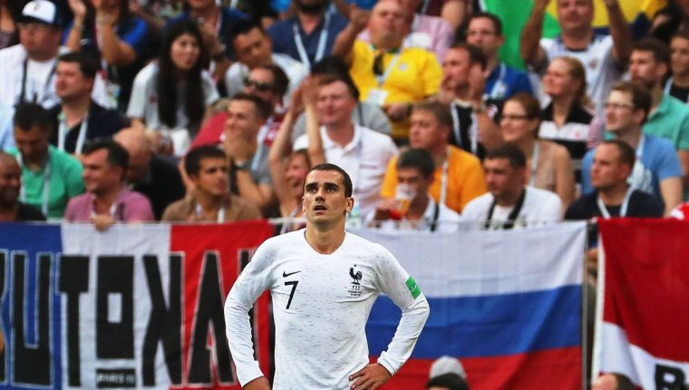 Antoine Griezmann no influyó en el partido entre Francia y Dinamarca. (Foto Prensa Libre: EFE)