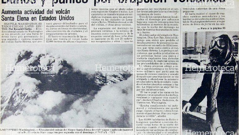 Nota periodística informando sobre la erupción del Monte Santa Elena en mayo de 1980. (Foto Prensa Libre: Hemeroteca)
