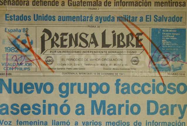 Titular de Prensa Libre del 16/12/1981. (Foto: Hemeroteca PL)