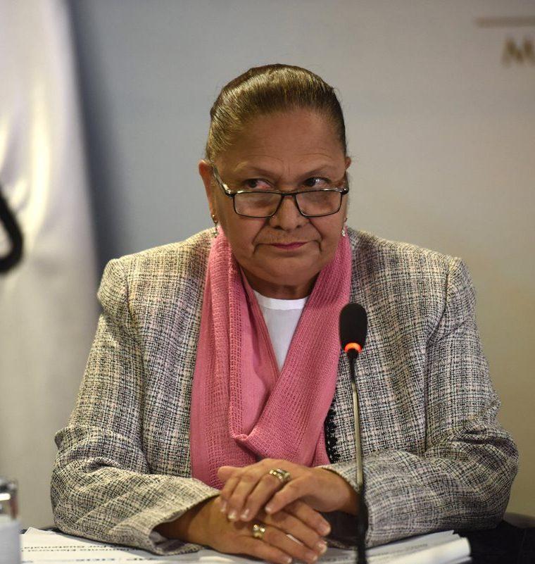 Fiscal general de Guatemala, María Consuelo Porras, durantela conferencia de prensa. (Foto Prensa Libre: EFE)