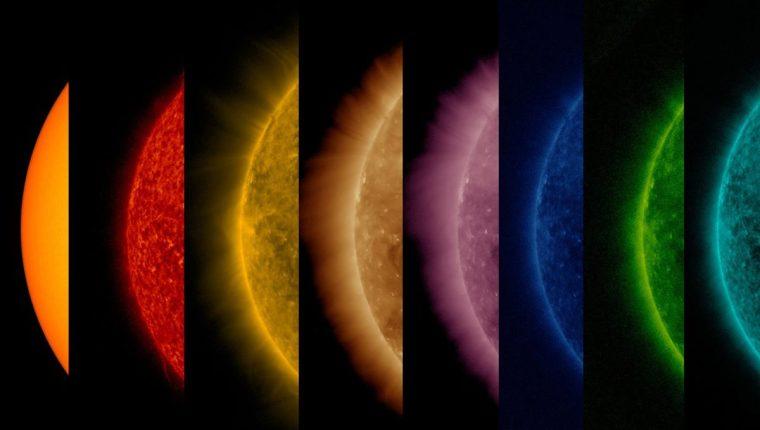 Análisis de un acercamiento del Sol, desde su superficie (amarillo) hasta una de sus capas interiores (celeste). (Foto: NASA)