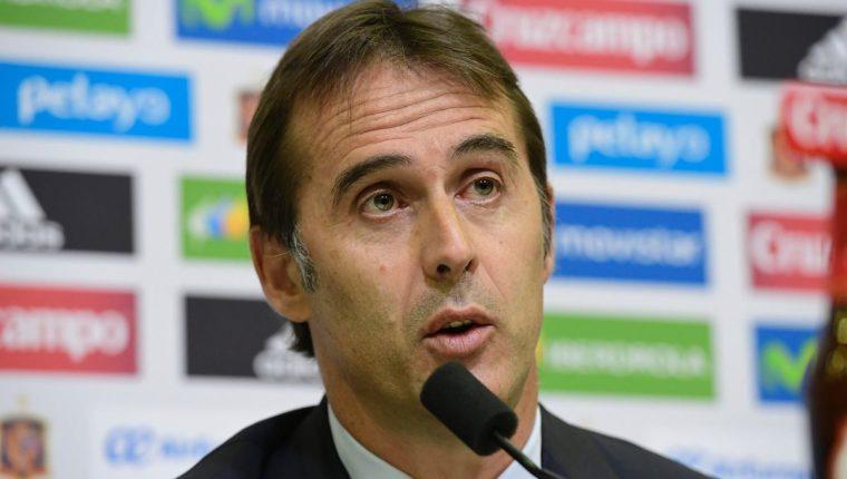 Julen Lopetegui en su presentación como seleccionador español. (Foto Prensa Libre: AFP)