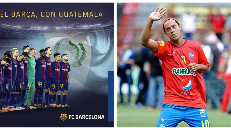 El Barcelona y Ronaldinho también mostraron su apoyo a los guatemaltecos afectados por la erupción del Volcán de Fuego. (Foto Prensa Libre: Redes Sociales)