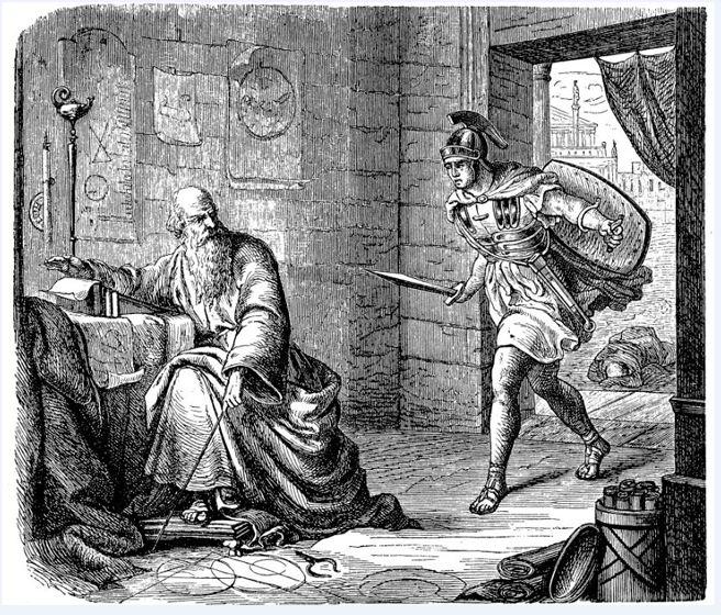 """Esta ilustración se llama: """"La última hora de Arquímedes"""". (GETTY IMAGES)."""