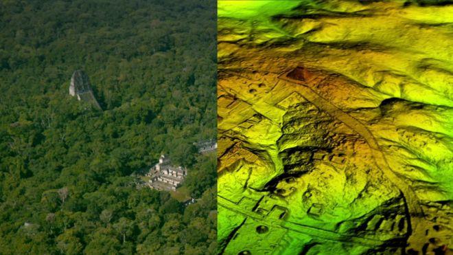 La ciudad maya de Tikal estaba rodeada por una compleja red de estructuras y calzadas que no habían sido descubiertas. Foto: Wild Blue Media/Channel 4/National Geographic