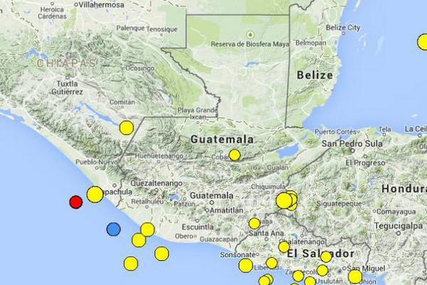 El epicentro se registró en el territorio mexicano. (Foto Prensa Libre: Conred)
