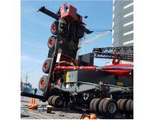 Un accidente se registró en la instalación de un contrapeso de las nuevas grúas 600 en las instalaciones de la EPQ en Escuintla. (Foto Prensa Libre: Cortesía Javier Reyes Navarrete)