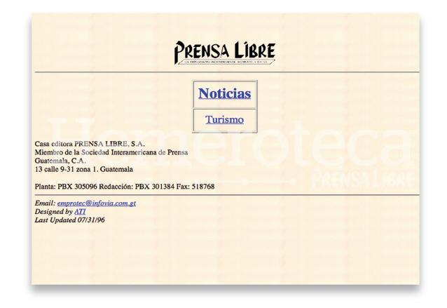 Primera portada web de Prensa Libre en 1996. (Foto: Hemeroteca PL)