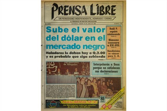 Portada del 25 de junio de 1988, con titular sobre aumento del precio del dólar. (Foto: Hemeroteca PL)