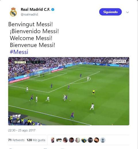 Tuit en el que los hackers anunciaron el supuesto fichaje de Lionel Messi por el Real Madrid. (Foto Prensa Libre: Twitter).