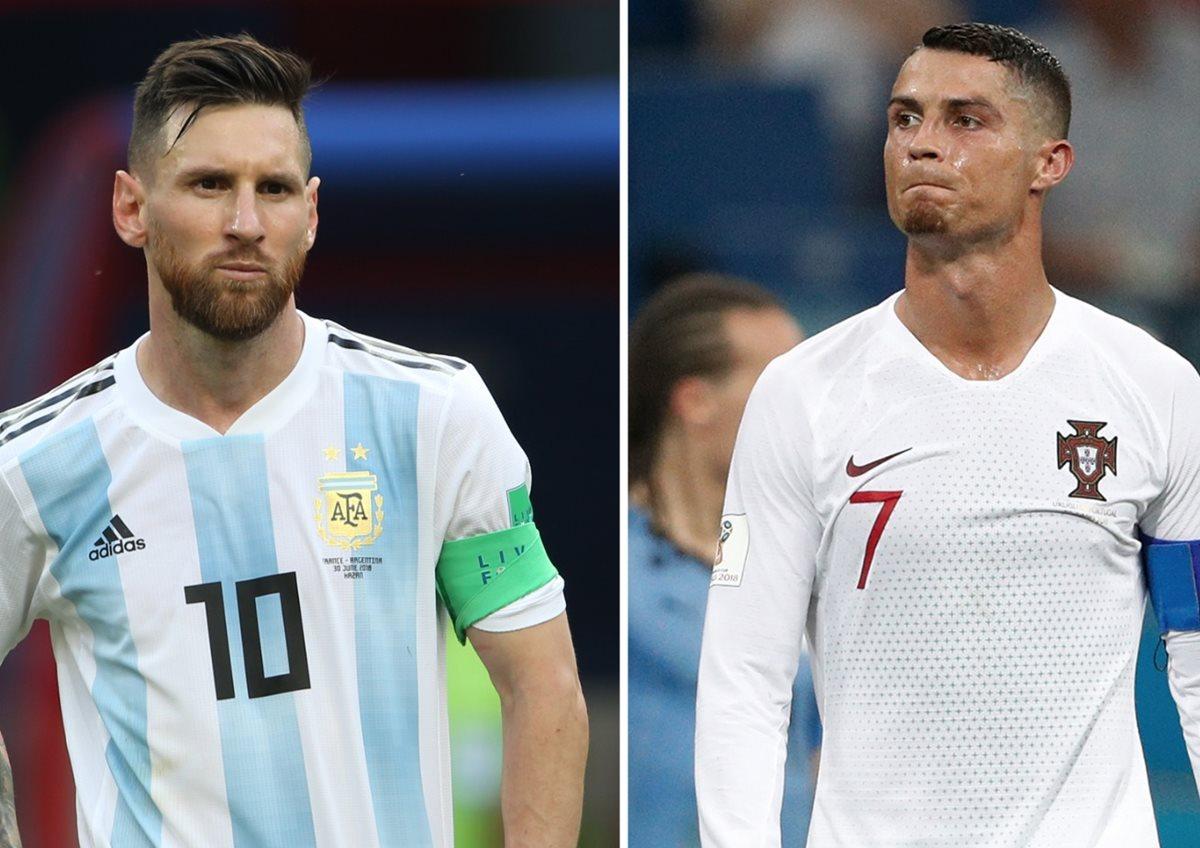 Messi y Cristiano quedaron eliminados del Mundial de Rusia el mismo día, con sus respectivas selecciones. (Foto Prensa Libre: AFP)