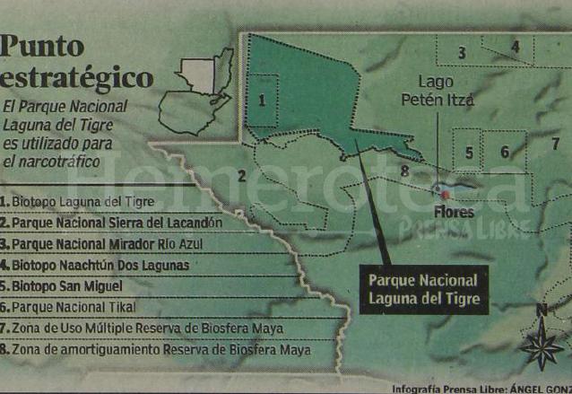 Infografía que ilustra las zonas protegidas del departamento del Petén. (Foto: Hemeroteca PL)